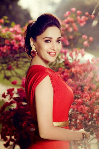 Madhuri Dixit tries to get a picture with Taj Mahal