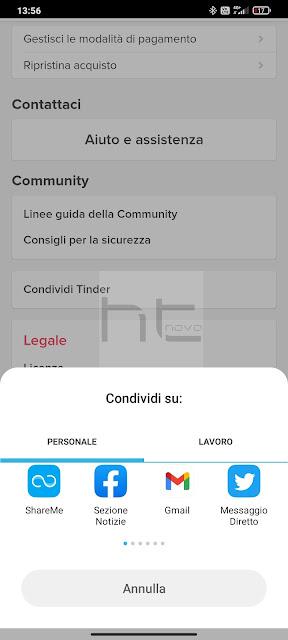 Tinder consente di condividere i profili (degli altri) ovunque