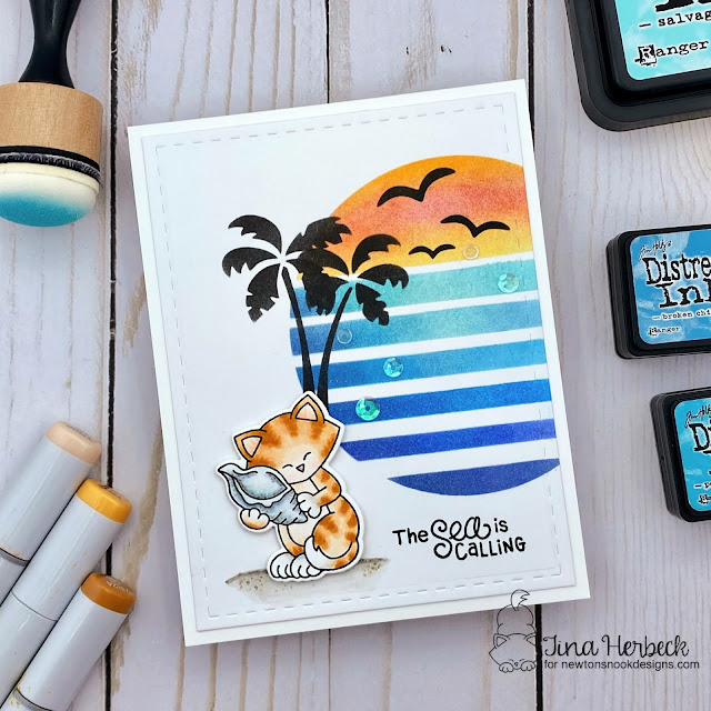 Beach Sunset card with Cat by Tina Herbeck | Newton's Seashell Stamp Set and Sun & Palms Stencil Set by Newton's Nook Designs #newtonsnook