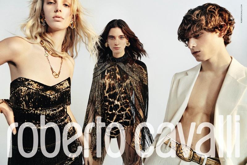 Jessie Bloemendaal, Ansley Gulielmi and Serge Sergeev star in Roberto Cavalli spring-summer 2020 campaign