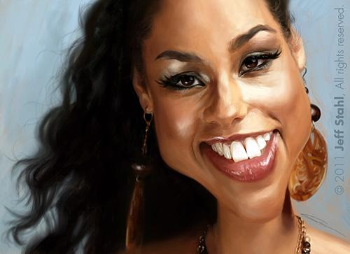 """Caricatura de """"Alicia Keys"""" por Jeff Stahl"""