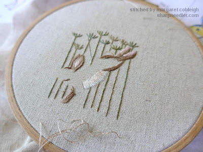 Jenny McWhinney's Queen Anne's Lace Travelling Work Station: Beginning to embroider the hare in long and short shading