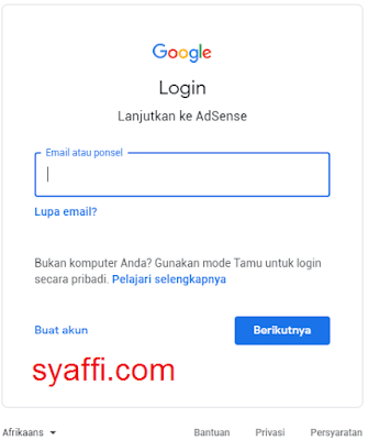 4. Login Google Adsense