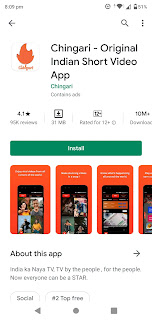 प्ले स्टोर पर 1 करोड़ से अधिक डाउनलोड्स में Chingari द्वारा TikTok की जबरदस्त हिट। - Vapi Media News