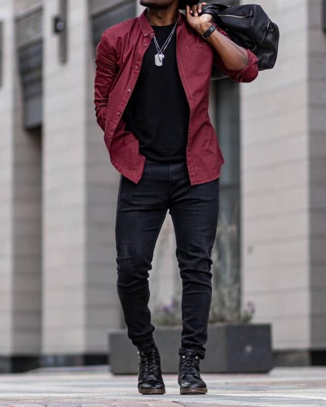 Black pant and Maroon shirt combination, men.