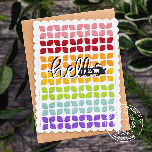 Sunny Studio Stamps: Frilly Frames Dies Hello Word Die Hello Card by Eloise Blue