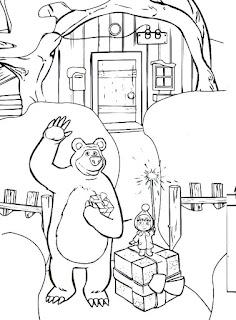 דף צביעה מאשה והדוב