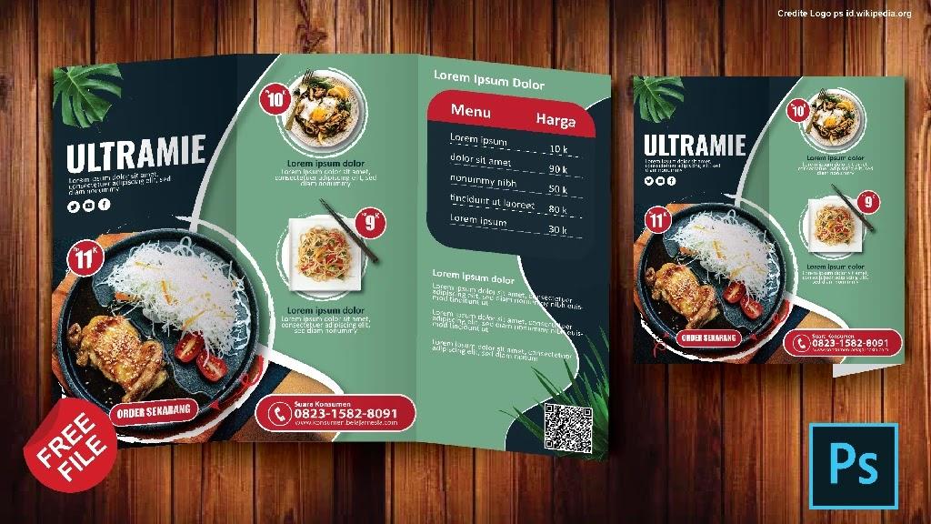 Download contoh Desain Brosur Makanan 3 Lipat Coreldraw Dan Photoshop
