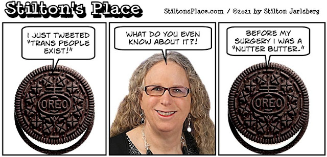 stilton's place, stilton, political, humor, conservative, cartoons, jokes, hope n' change, oreo, trans, levine, black, sjw, woke