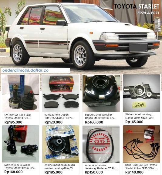 Toyota Starlet Kotak EP70 EP71 parts