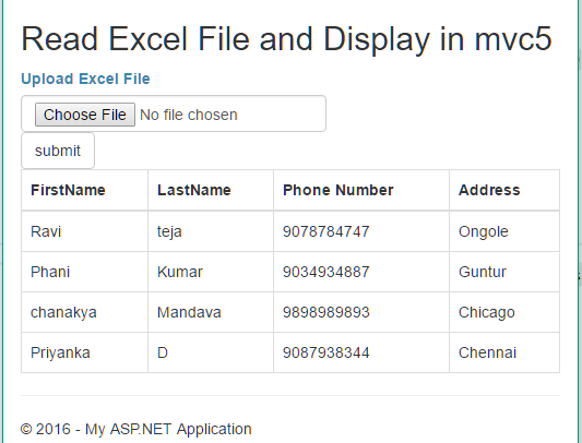 displaying microsoft excel data in mvc application