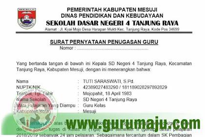 Contoh Surat Penugasan dari Kepala Sekolah Untuk Pendaftaran PPPK (P3K)