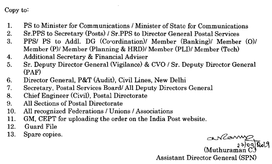 Provision for concession to official on deputation to APS for IPO Examination 2019