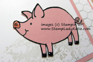 Close up of one of the pigs fussy cut from Stampin'UP!'s This Little Piggy Stamp set