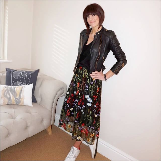 My Midlife Fashion, marks and spencer embroidered a line skirt, zara leather biker jacket, h&M cashmere v neck jumper, golden goose super star low top leather trainers