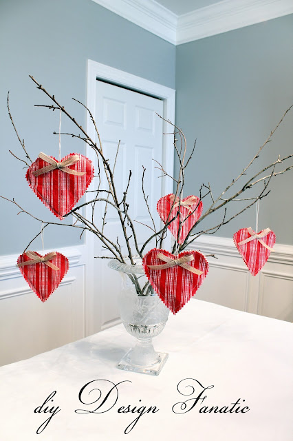 Vintage Valentine hearts, moss urn, stool, cottage, cottage style, farmhouse, farmhouse style, diyDesignFanatic.com