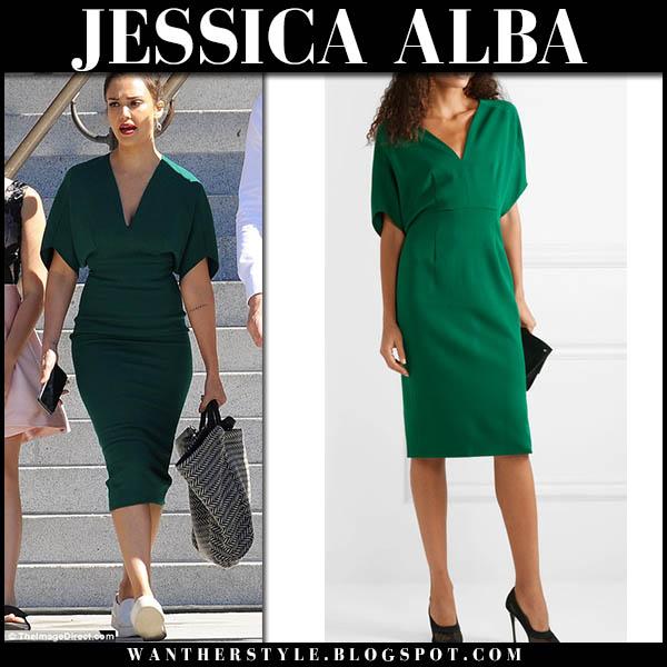 Jessica Alba in green midi dress narciso rodriguez celebrity style october 4