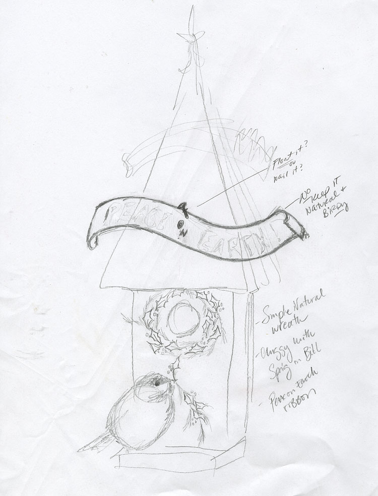 "Pencil sketch for idea #4. I like it. Nice and simple and even ""likely."""