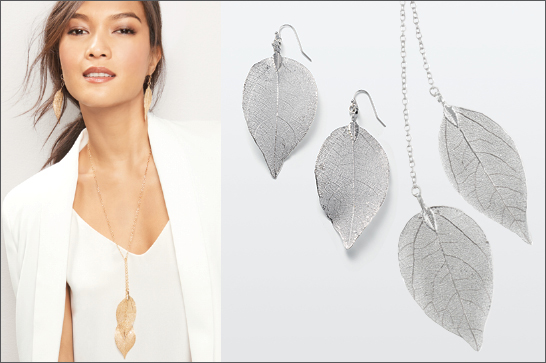 LEAF ME BREATHLESS NECKLACE AND EARRINGS
