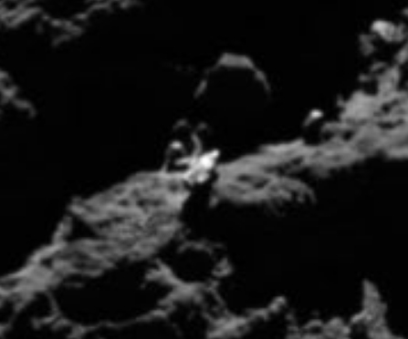 There is a distinct Spaceship UFO on comet 67p and it looks very Alien made and Alien technology.