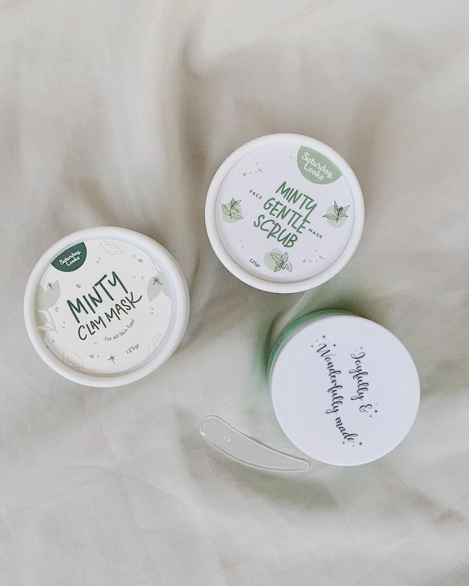Review: Masker Untuk Kulit Berjerawat, Saturday Looks Minty Clay Mask, Minty Gentle Scrub, Wake Wonderful Sleeping Mask
