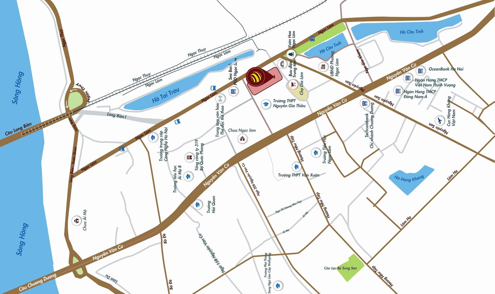 Vị trí vô cùng đắc địa và thuận lợi cho việc di chuyển của cư dân One 18 Long Biên