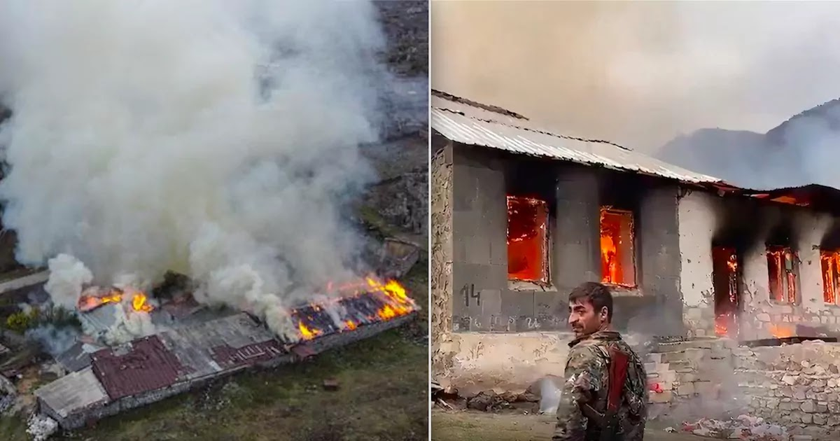 Armenians In Artsakh Burn Their Own Homes To Stop Them From Being Seized By Azerbaijani Forces