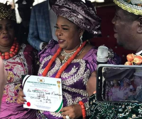 "Patience Jonathan Looks Stunning As She Bags Royal Title Of ""Nneoma 1 Of Omuma"""