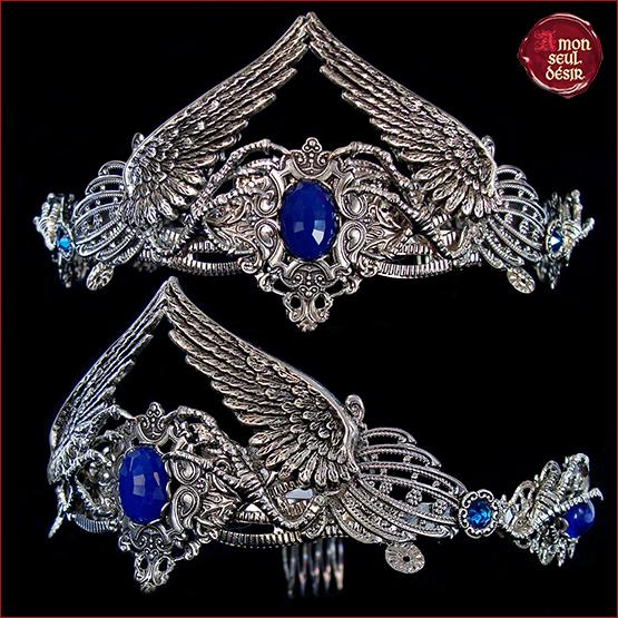 couronne medievale bleu nuit ailes oiseau corbeau ravenclaw serdaigle