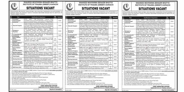 Latest Shaheed Mohtarma Benazir Bhutto Institute of Trauma SMBBIT Karachi Sindh Jobs 2021