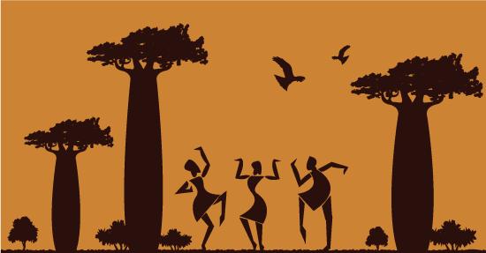 Escena de África de tonos ocres, Baobabs y africanos danzando, Siluetas de africanos bailando