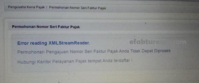 Minta NSFP Online Error Reading XML Stream Reader