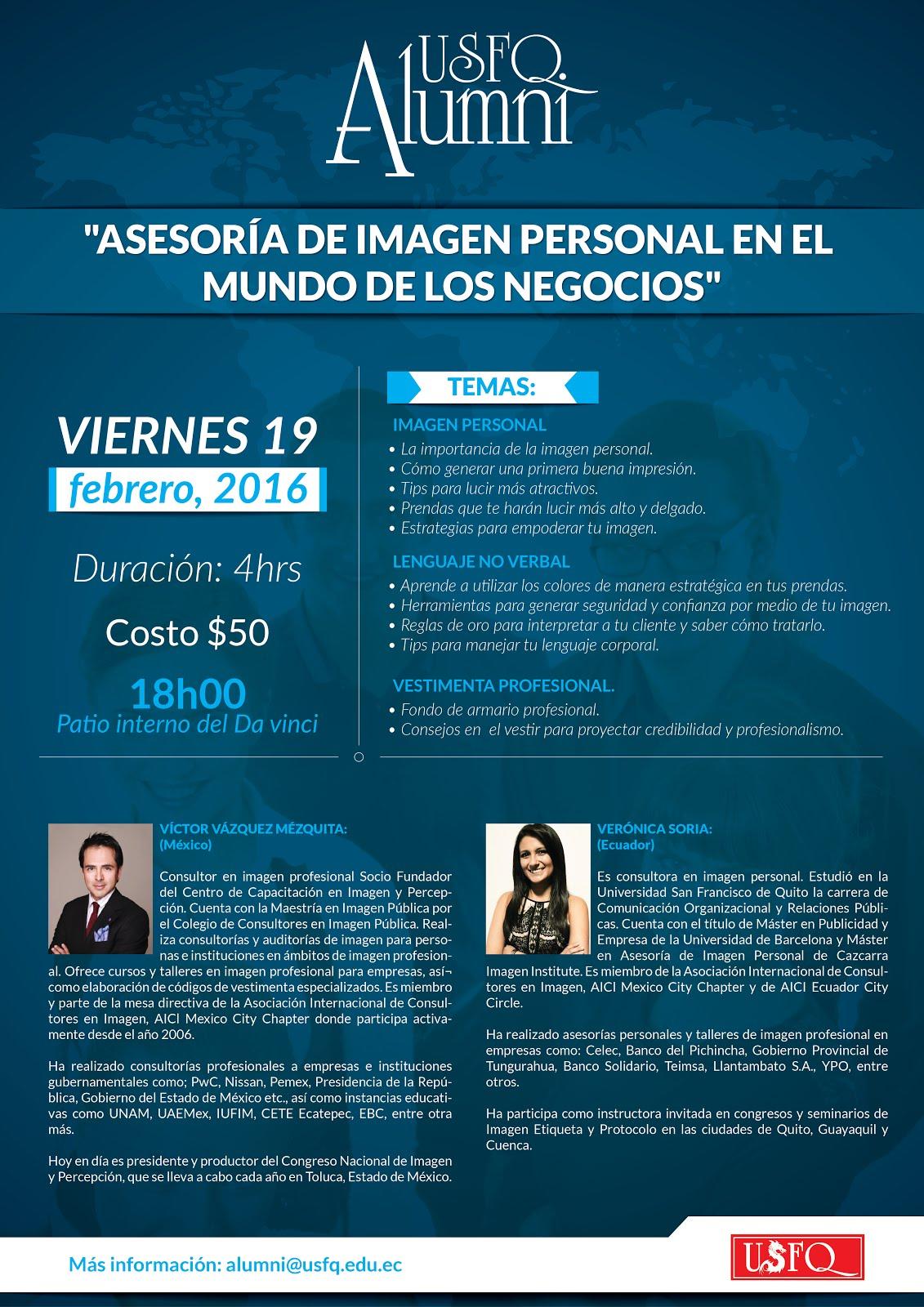 Alumni USFQ invita al Seminario Asesoría de imagen personal en el mundo de los negocios, 19 de febrero, 18h00