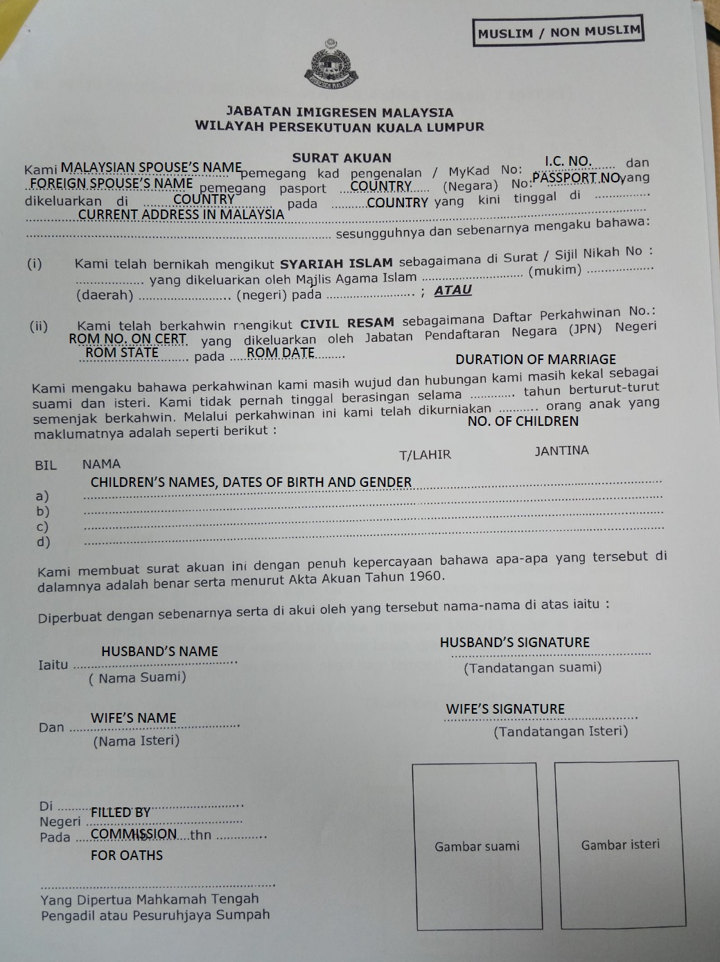 Her Blessed Life With An International Marriage And English Teaching How To Fill In A Statutory Declaration Surat Akuan Sumpah Perkahwinan For Foreign Spouses