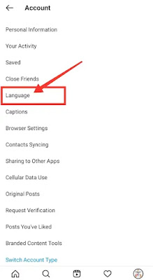 Instagram language change