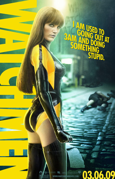 Malin Akerman sexy pose in Watchmen 2009 movieloversreviews.filminspector.com