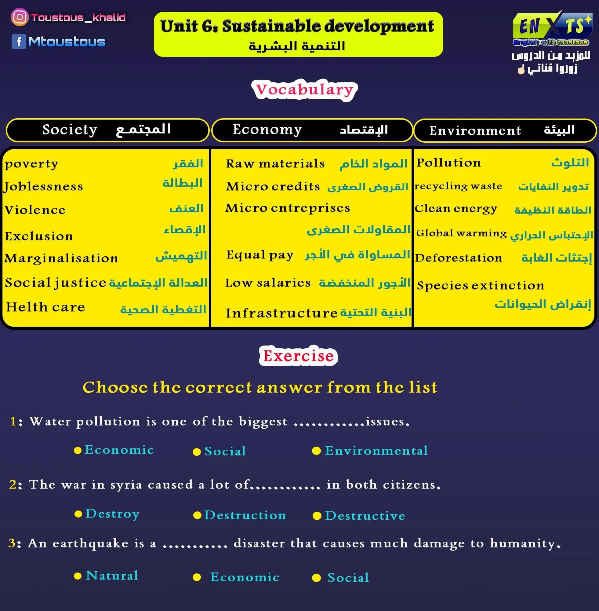 unit 6: sustainable development