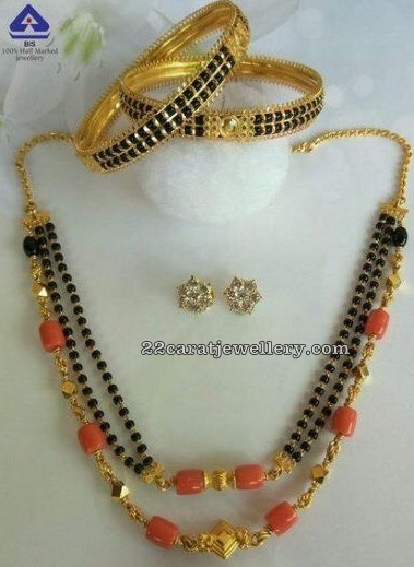 Black Beads Set and Bangles with Corals
