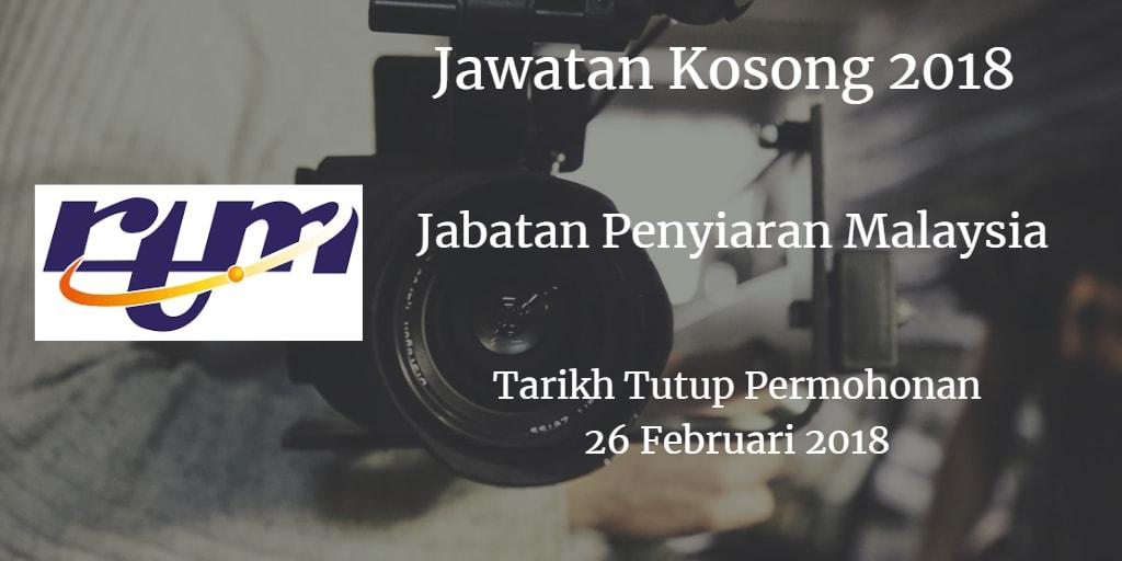 Jawatan Kosong RTM 26 Februari 2018