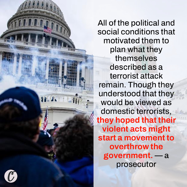 All of the political and social conditions that motivated them to plan what they themselves described as a terrorist attack remain. Though they understood that they would be viewed as domestic terrorists, they hoped that their violent acts might start a movement to overthrow the government. — a prosecutor