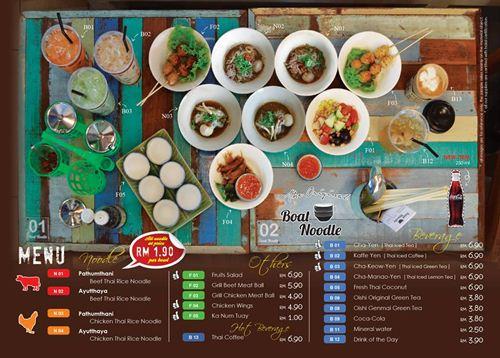 menu dan hidangan di boat noodle
