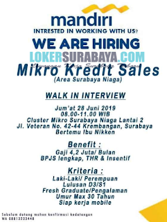 Walk In Interview di Bank Mandiri Surabaya Terbaru Juni 2019