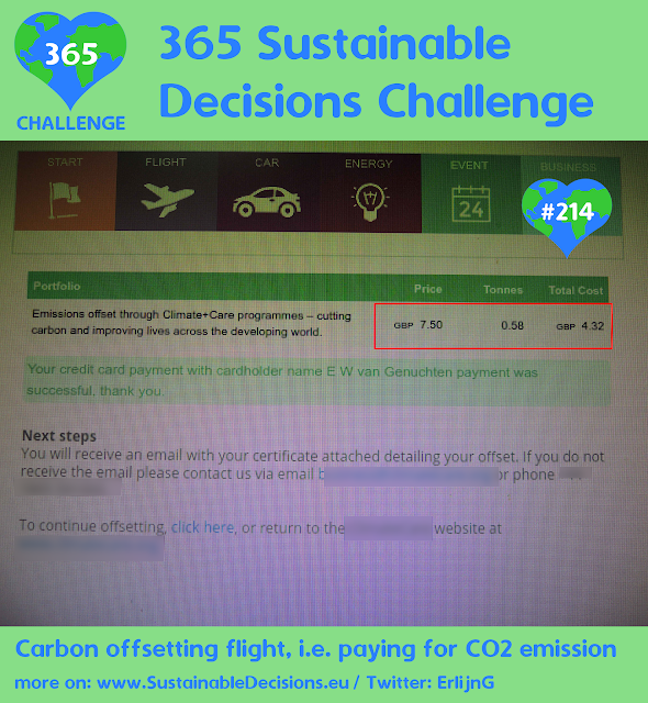 Carbon offsetting flight, i.e.paying for CO2 emission donating sustainability sustainable living