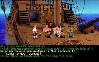 Charlando con la tripulación rumbo a Monkey Island