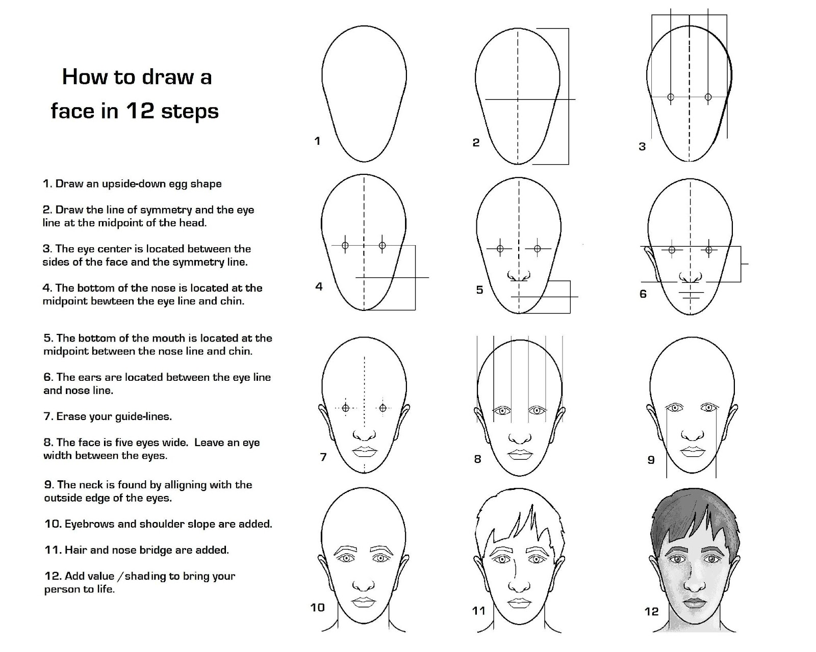 how to draw a portrait 3 4
