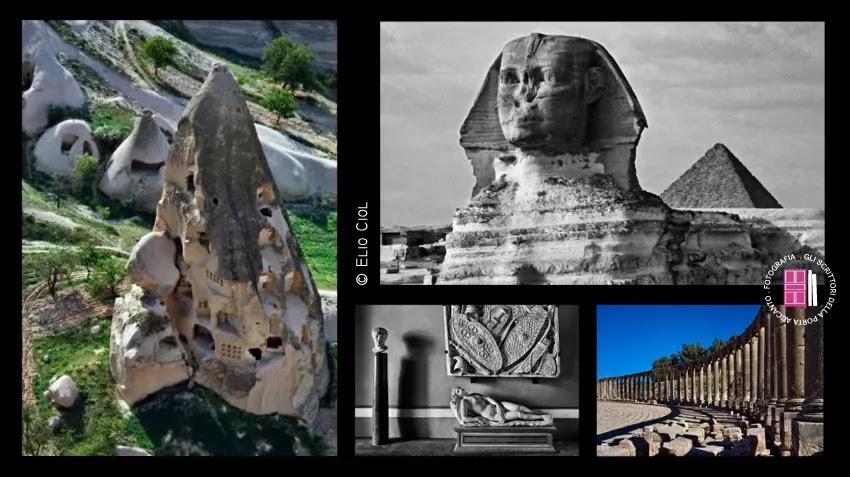 Torri di tufo in Cappadocia - La Sfinge - La Casa di Pilato a Siviglia - Le rovine di Gerasa