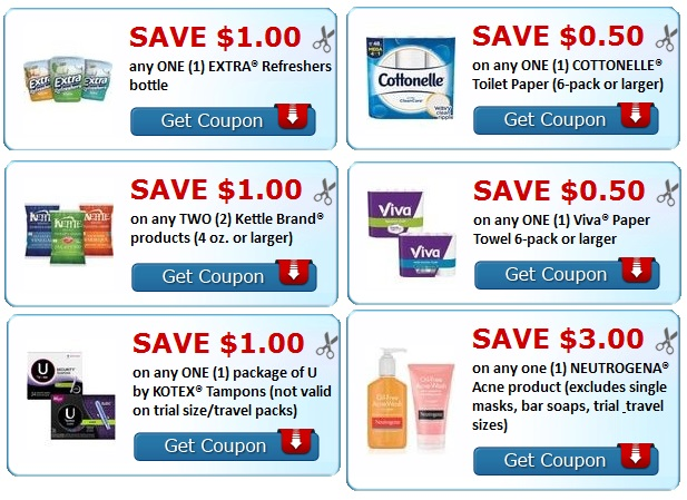 Print coupons Neutrogena, Extra, Kettle, Viva, kotex Coupons.