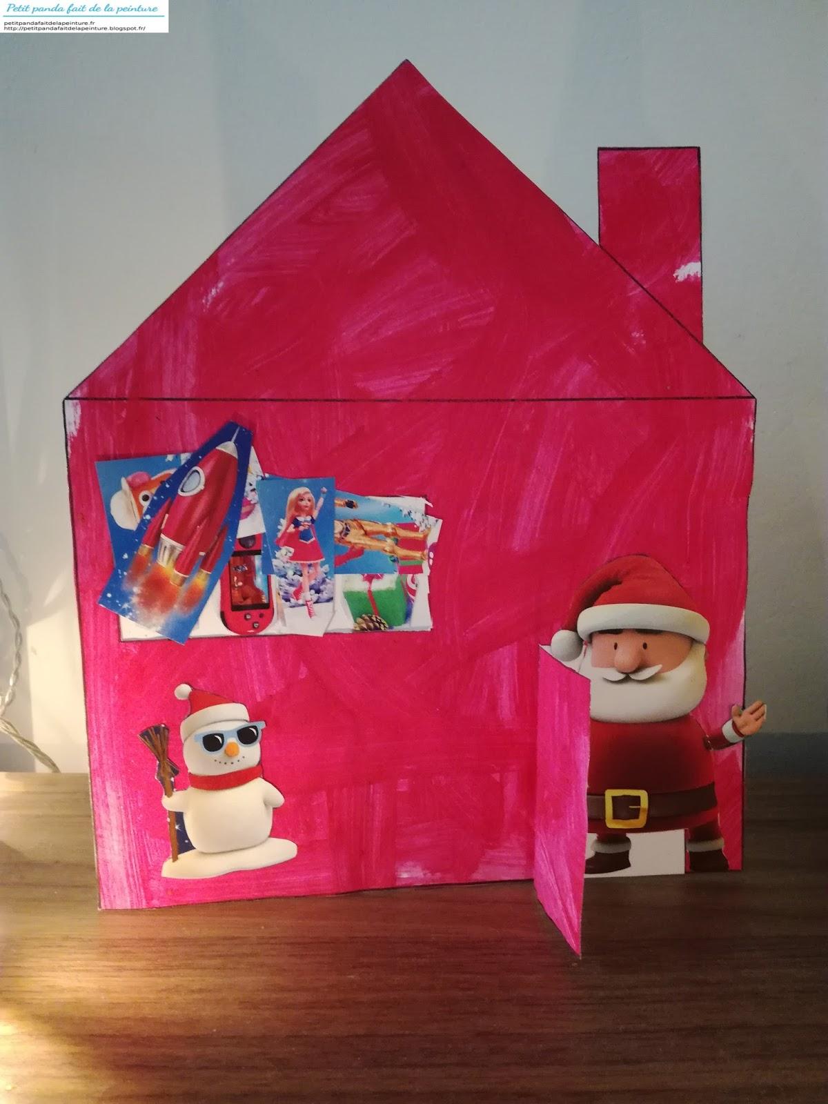 petit panda fait de la peinture une maison du pere noel a la peinture rouge et collage de gommettes. Black Bedroom Furniture Sets. Home Design Ideas