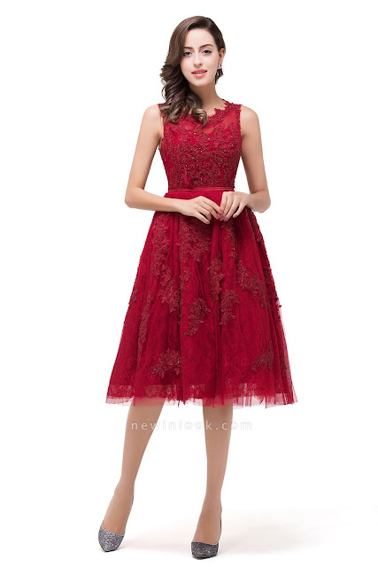 Quinceanera Knee-Length Red Lace Tull Dama Dresses with sequins