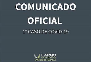 Mineradora Vanádio Maracás registra primeiro caso da Covid-19